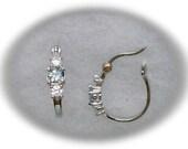 Sky Blue Topaz Gemstones and White Cubic Zirconias in 925 Sterling Silver Hoop Earrings