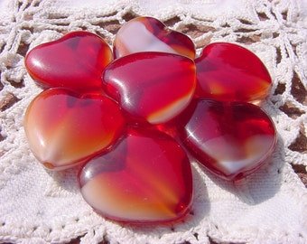 Red Amber Givre Heart Vintage Glass Focal Bead