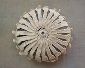 RESERVED  Crocheted Lace Stone, Circular Pattern, Beige Thread, Gray Stone, Handmade by Monicaj