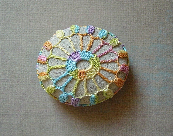 RESERVED Crocheted Lace Stone, Indonesian River Rock, Rainbow Taffy Thread, Handmade by Monicaj