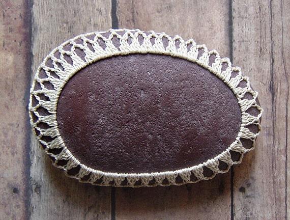 Art Object, Folk Art, Crochet Lace Stone, Original, Handmade, Table Decorations, Tribal, Home Decor, Beige, Brown