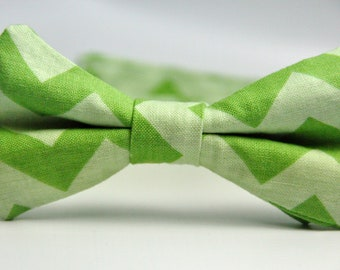 Boy's Bowtie Green Chevron Bow Tie for Children