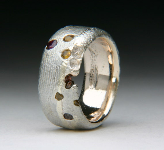 Cuttlefish Float Cast Ring in a Custom Blend of Alloys with Sapphires