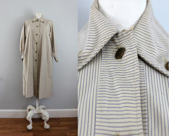 1940s 50s La Parisian ticking stripe all weather jacket trench coat ML