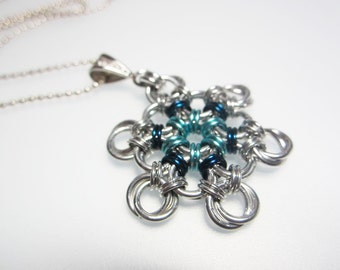 Light and Dark Blue Snowflake Chainmaille Necklace Handmade