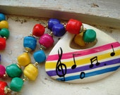 FREE SHIPPING Vintage Colorful Beaded Necklace