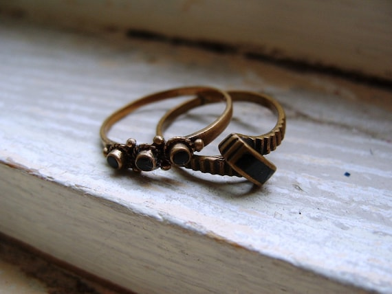 FREE SHIPPING Vintage Brass Ring Lot with Black Enamel Accents