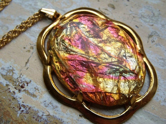 FREE SHIPPING Vintage Chunky Foil Pendant and Chain Necklace