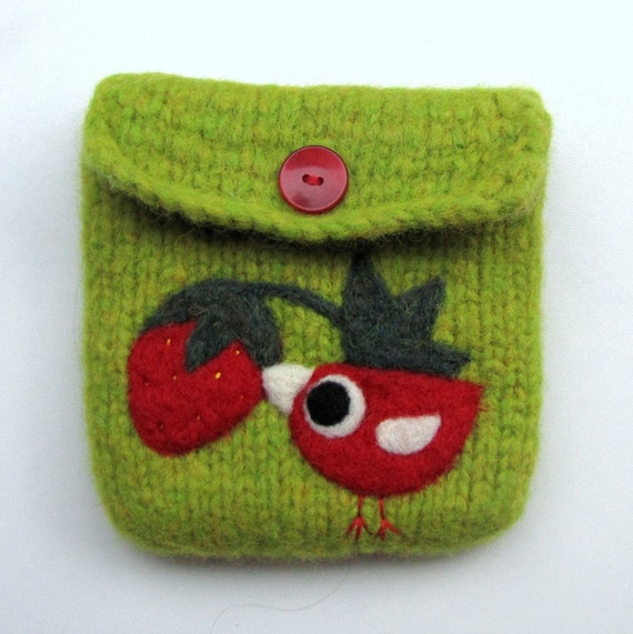Felted bag purse olive green  wool pouch cozy hand knit needle felt little birdie and strawberry