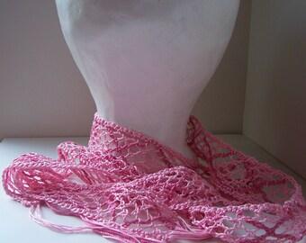 Pink Bobbin Lace Torchon Scarf