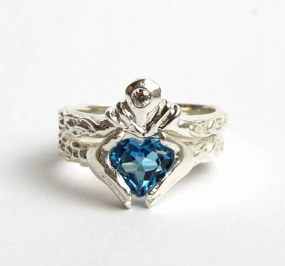 Claddagh Ring Wedding Set White Gold And Diamond Blue Topaz Or Red