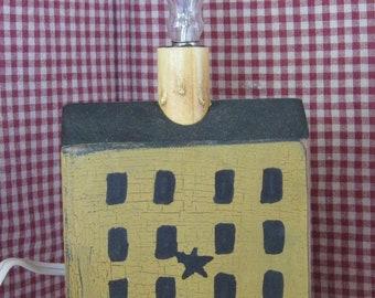 Primitive Saltbox Wood Block Lights