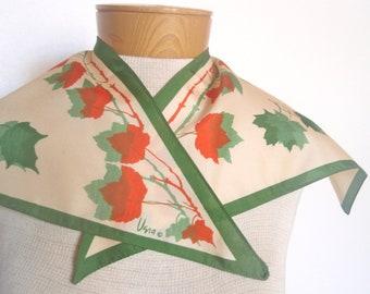 Vivid Leaf Origami - a vintage Mid-Century 1950's Vera Neumann hand-painted wing-tip scarf