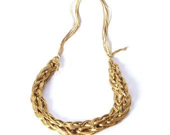 Antique Gold 'knitted' satin cord necklace - short