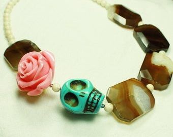 Turquoise Stone Skull Necklace with Pink Rose, and Brown Quartz and White Stone