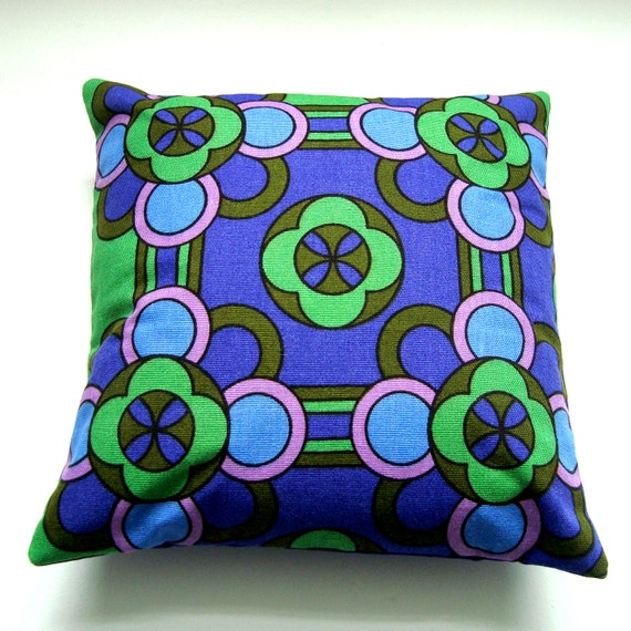 Vintage Fabric  Pillow / Cushion Cover -  Small Accent Pillow - Fab Green and Purple Retro Geometric Mod Floral Print