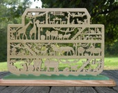 Noahs ARK  Large Hand Cut Wooden Ark on Base cut with Scroll Saw
