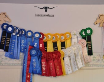 Western or English  Horse Show Ribbon Display Wood Wall Hanging Award Plaque