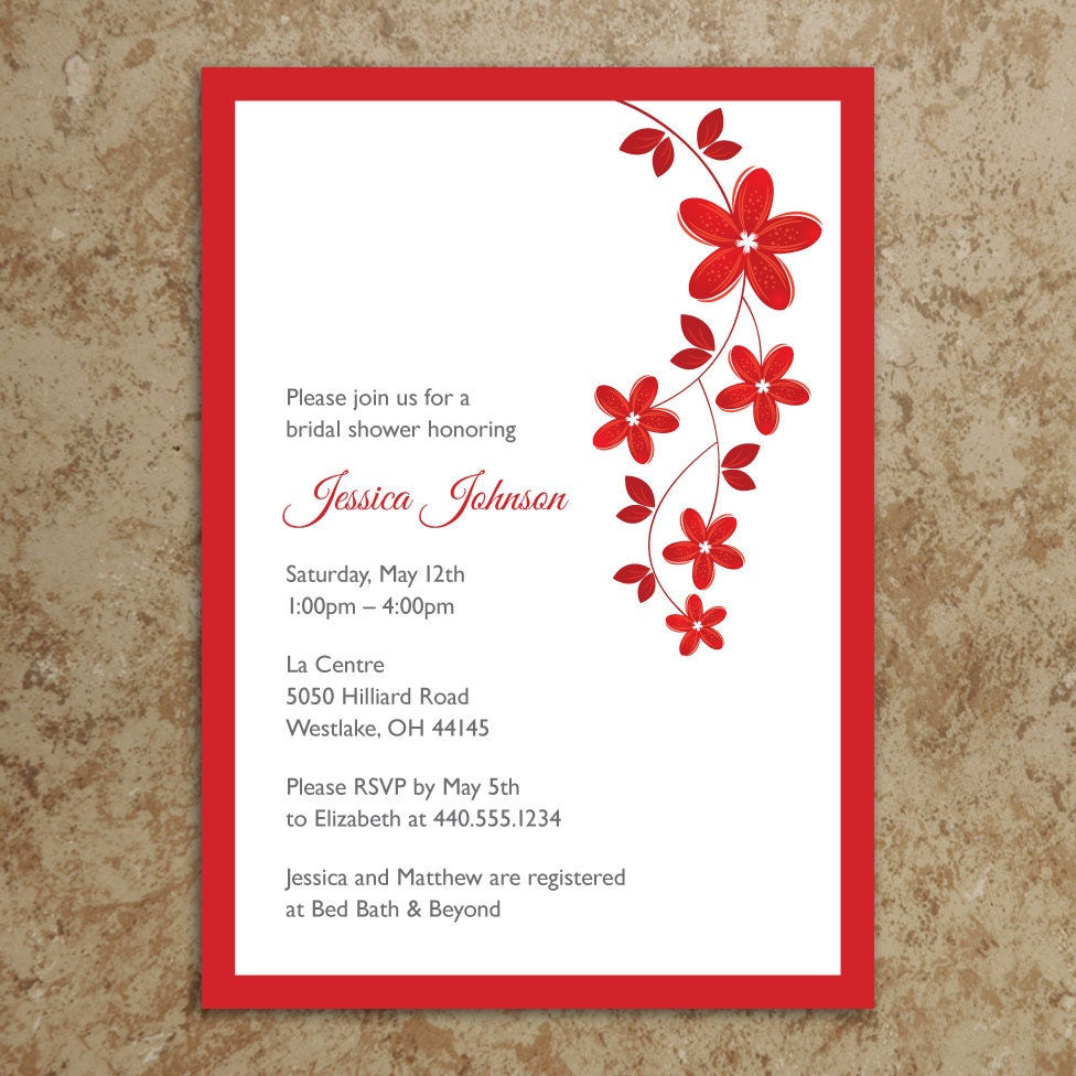red bridal shower – OnePaperHeart – Stationary & Invitations