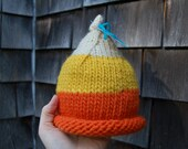 knit baby hat fall candy corn made to order