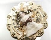 Frozen Charlotte Brooch Assemblage Wearable Art Pin Antique Doll Flower Broach