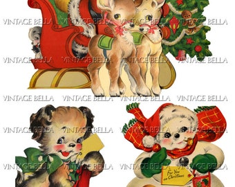 Vintage Christmas 1940s Santa, Snowman, Reindeer, Dog Greeting Card Digital Download 312 - by Vintage Bella