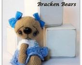 """SALE 20% OFF - Use coupon code """"BB001""""  Little Miss Blue, miniature crochet bear by Bracken Bears"""