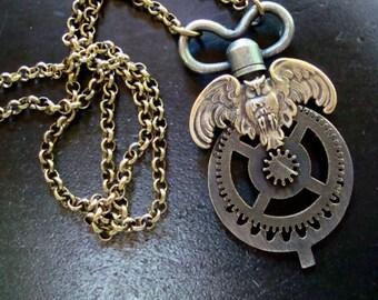 Industrial Steampunk Owl Pendant Necklace, Gears, Key, Gogs, Exclusive Original Art Design