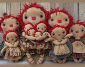 Primitive Doll E-PATTERN Ten Sizes of Little Raggedy and their clothing EASY
