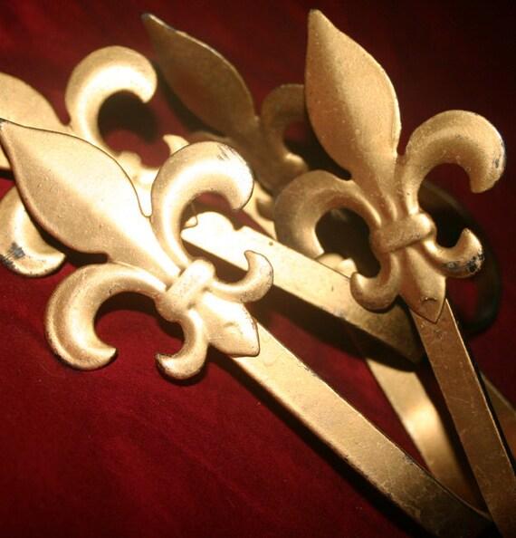 Set of 4 Gold Fleur De Lis Metal Curtain Tie Backs