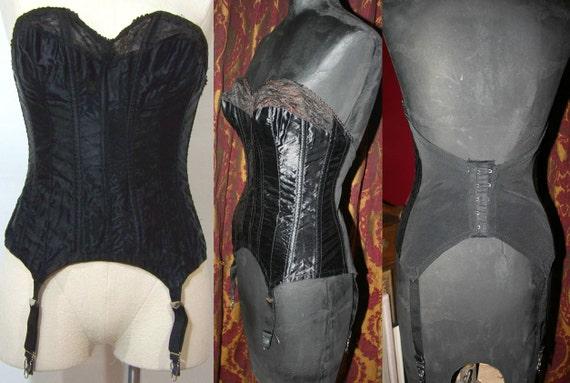 Vintage 1950s Bettie Page Black Satin Bustier Garters