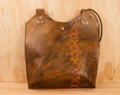 Leather Tote - Hive pattern with bees - Pink, Yellow and Antique brown