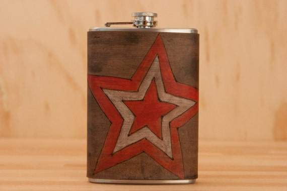 Star Flask - Leather in Red, White and Antique Black - Stainless Steel 8oz