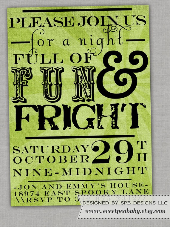 Halloween Party Invitation -- Poster Style