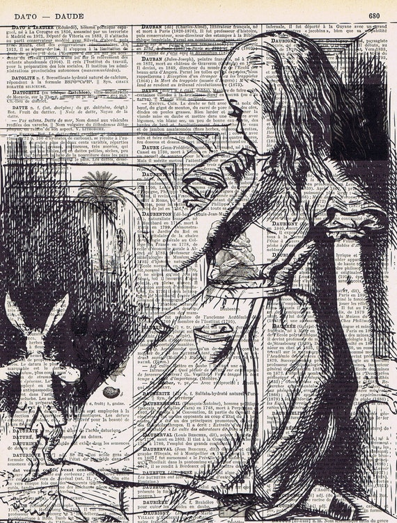 Summer, Alice in Wonderland, Altered  Vintage Book Page Prints,March Hare,Bunny, Rabbit, buy 3 get 1 FREE, Birthday, Gift
