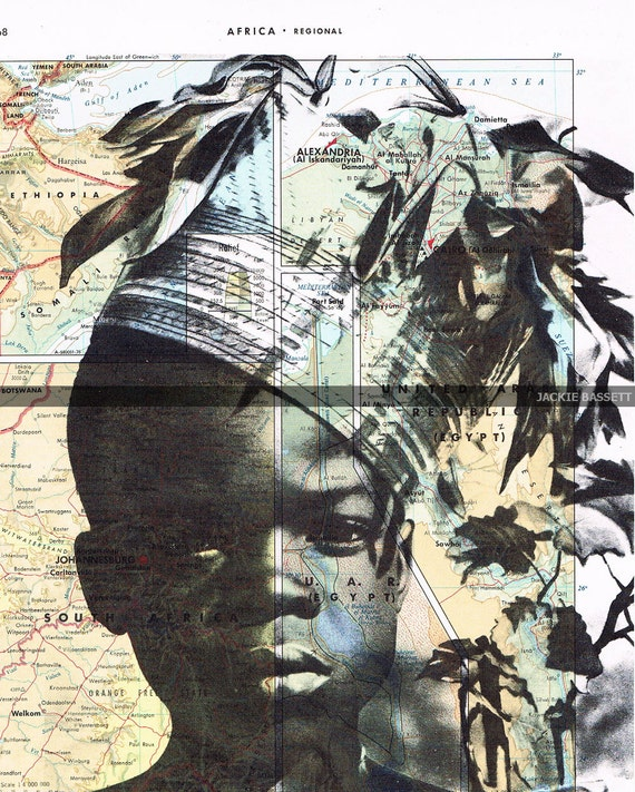Gift, Map Print. Repurposed Book Pages, African Boy Vintage Photo, handmade Special, home decor, buy 3 get 1 FREE.art.travel.ethnic