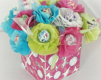 15 Tissue Paper Flowers sucker lollipop centers. Birthday Girl Softball Flowers Can be personalized. Pink White Blue Green