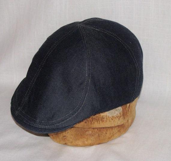 Custom 6 Panel Handmade Linen Flat Cap Driving Cap for Men in Denim