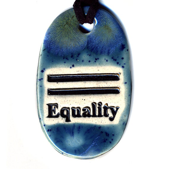 Equality Ceramic Necklace in Speckled Blue