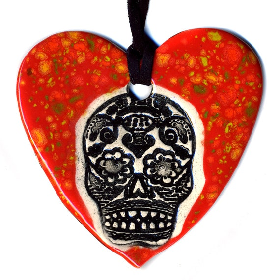 Day of the Dead Ceramic Heart Necklace in Red