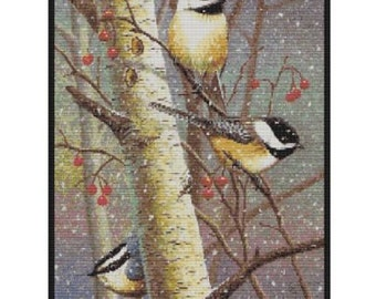 Three Winter Birds bead pattern for loom or peyote