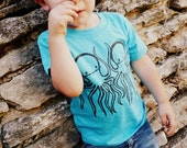 Turquoise Zombie Octopus kids Toddler T-shirt by Rocky The Zombie