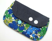 Reserved for Lynn McNeill  -Vintage Fabric Clutch - In Blue and Green