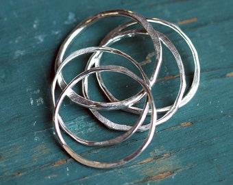 Stacking Rings - EcoFriendly Sterling Silver Rings - Silver Stacking Rings - Artisan Handmade - Hammered Textured - Ring Set - Five Rings