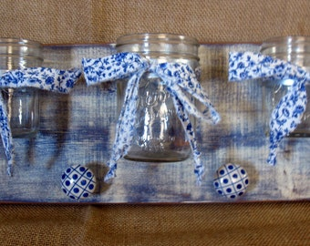 Mason Jar Decor, Farmhouse Decor, Mason Jar Wall Decor, Mason Jar Wall Sconce, Triple Mason Jar Wall Vase-Blue Willow Mason Jar Wall Decor