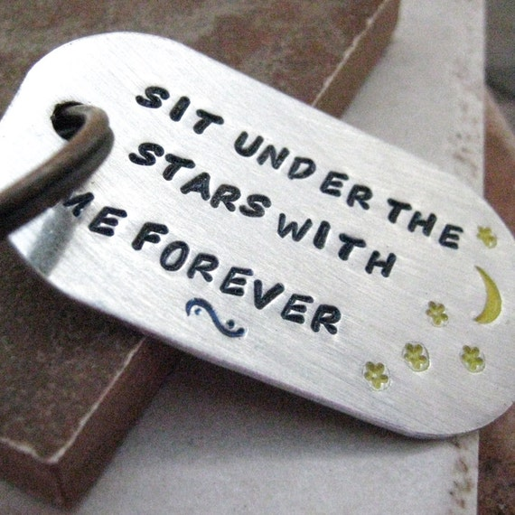 Moon and Stars Keychain, rounded aluminum dog tag, antique copper split ring, customize this with your own quote