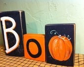 Boo sign Halloween sign autumn decor stacking 2 x 4 chunky wood blocks set of 3 Trimble Crafts hand painted