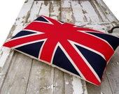 SALE Traditional red, white & blue Union Jack flag cushion/pillow DISCONTINUED SIZE - karenhiltondesigns