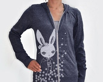 Japanese inspired kawaii Women kimono bunny Eco Hether Zip Hoodie Heather navy blue