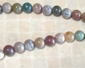 India Agate Multi Color  8mm Round  Beads FULL STRAND
